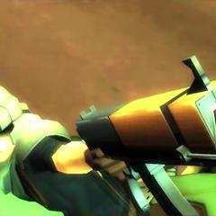 Um soldado da Shinra apontando sua arma para CloudFile:FF7GB Braver.png|Cloud usando seu Limit