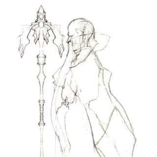 Набросок Раму с посохом в переиздании <i>Final Fantasy IV</i> для DS.