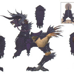 Concept art of a chocobo with behemoth barding.