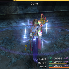 Yuna casts Cure in <i><a href=