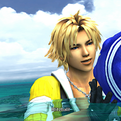 Tidus with a blitzball.