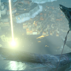 Leviathan being repelled by Lunafreya.