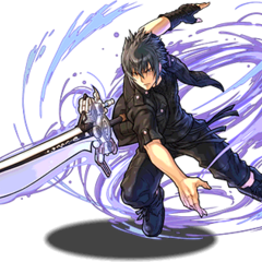 Artwork of Noctis using the Engine Blade for <i><a href=