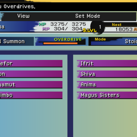 The Overdrive menu (PS2).