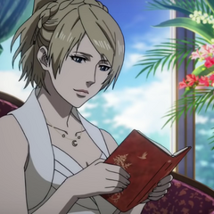 Lunafreya reads the notebook in Tenebrae.