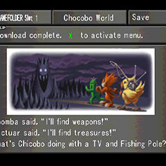 Menu screen from <i>Final Fantasy VIII</i> explaining <i>Chocobo World</i>.
