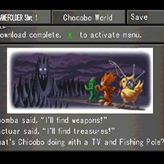 Menu screen from <i>Final Fantasy VIII</i> explaining <i>Chocobo World</i>.