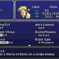 Sabin's Blitz menu (GBA).