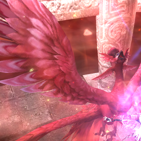 Phoenix manifesting during one of Iroha's special moves.