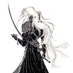 Yoshitaka Amano artwork, depicting a right-handed Sephiroth.