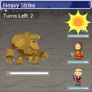 Heavy Strike in battle.