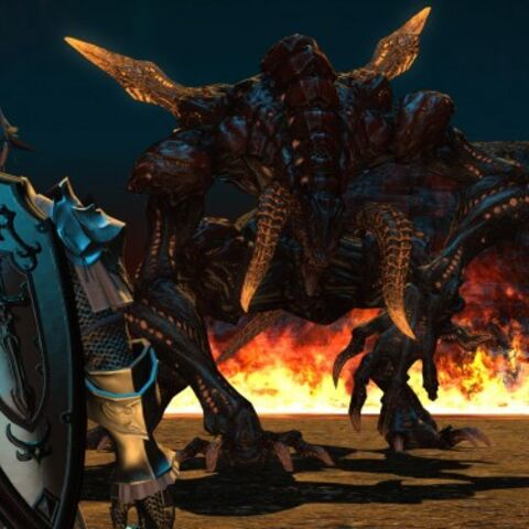 Ifrit confronts a player avatar in the beta of <i>A Realm Reborn</i>.