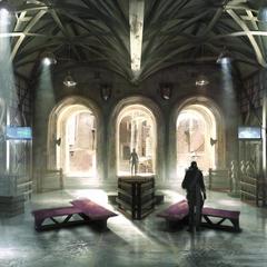 Arte conceitual do QG dos Kingsglaive.