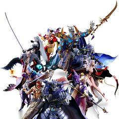 Promotional CGI artwork of Kuja alongside the other main <i>Final Fantasy</i> villains.