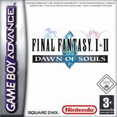 Capa de <i>Final Fantasy I∙II: Down Of Souls</i> europeia do Game Boy Advance; 2004.
