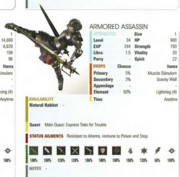 Armored Assassin stats in the FFXV guide