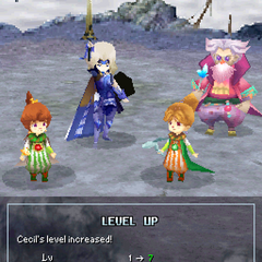 Pose de Cecil ao passar de nível como um Paladino (DS).