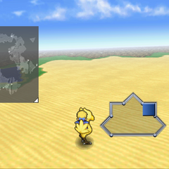 Chocobo ridden on the world map (iOS).