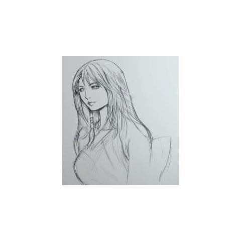 Artwork of Yuna for the audio drama (Uncolored version).