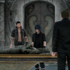 Cor with the party at a royal tomb.