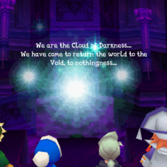 The Cloud of Darkness confronts the party at the Crystal Tower (iOS).