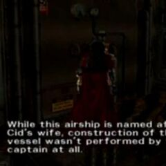 Engine worker confirms Cid and Shera's marriage in <i>Dirge of Cerberus</i>.