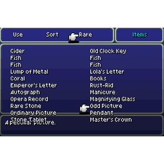 The Key Item menu (GBA).