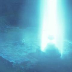 Coluna de luz na pedra de Llymlaen na abertura.
