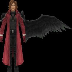 Modelo com asa em <i>Crisis Core -Final Fantasy VII-</i>.
