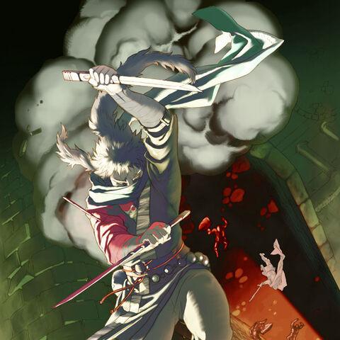 Jinnai fighting Gawain.