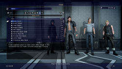 Leisure Goods menu screen from FFXV
