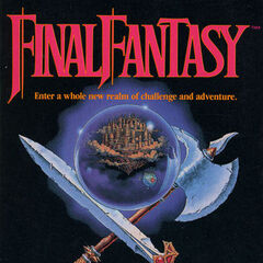 Capa de <i>Final Fantasy</i> norte-americana da Nintendo Family Computer; 1990.