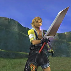 Tidus with the Buster Sword in <i><a href=