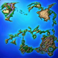 World map as seen from the Flying Fortress (PSP).