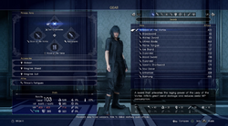 Weapon equipment menu in FFXV