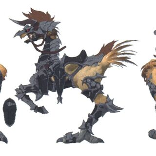 Concept art of a chocobo with a Slepnir barding.