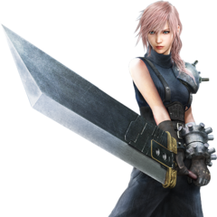 Lightning wearing Cloud's SOLDIER uniform.