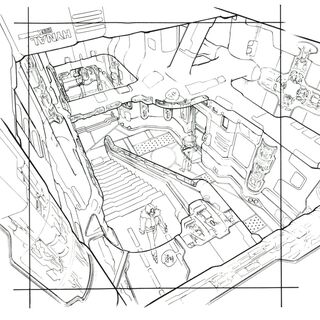 Concept art of the stairs.
