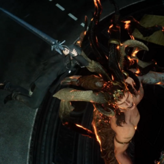 Noctis cleaves off Ifrit's horn with the Sword of the Father.