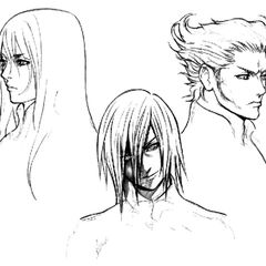 Concept art of Yazoo, Kadaj and Loz.