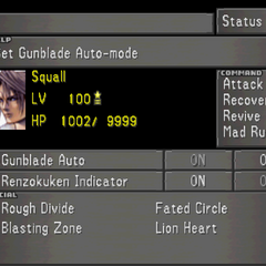 The fourth Status Screen for Squall, showing Squall's Limit Break options.