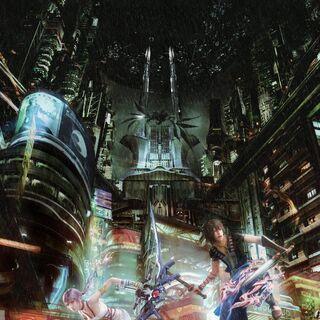 Uma imagem promocional destacada em <i>Final Fantasy XIII-2 Battle Ultimania</i>.