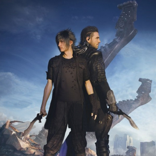 Promotional art of Nyx and Noctis holding the kukris. Noctis holds the Insomnian-wrought blade.