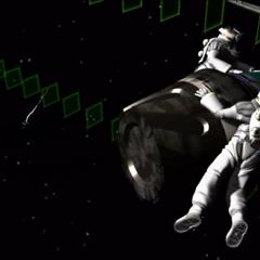 Spacemen collecting capsules.