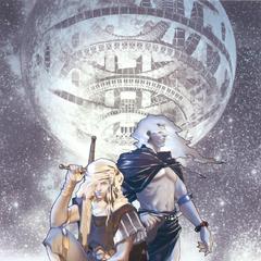 Задняя часть обложки к новелле по <i>The After Years</i>, на которой изображены Каин и Голбез. Иллюстрация <a href=