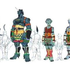 Child and adult female and male Ronso.