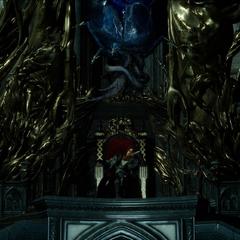 Ардин ждет своего противника, сидя на троне.