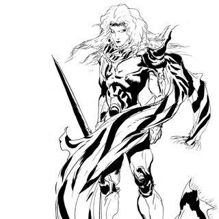 Ilustração de Yoshitaka Amano para o <i>The Complete Collection</i>.