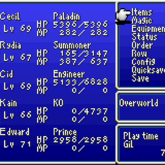 Menu in the GBA version.