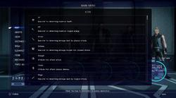 FFXV stats list from the menu